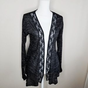 Maurices Black Lace Trim Marbled Cardigan Sweater